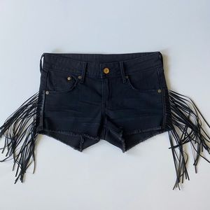 Denim Shorts with faux leather trim H&M